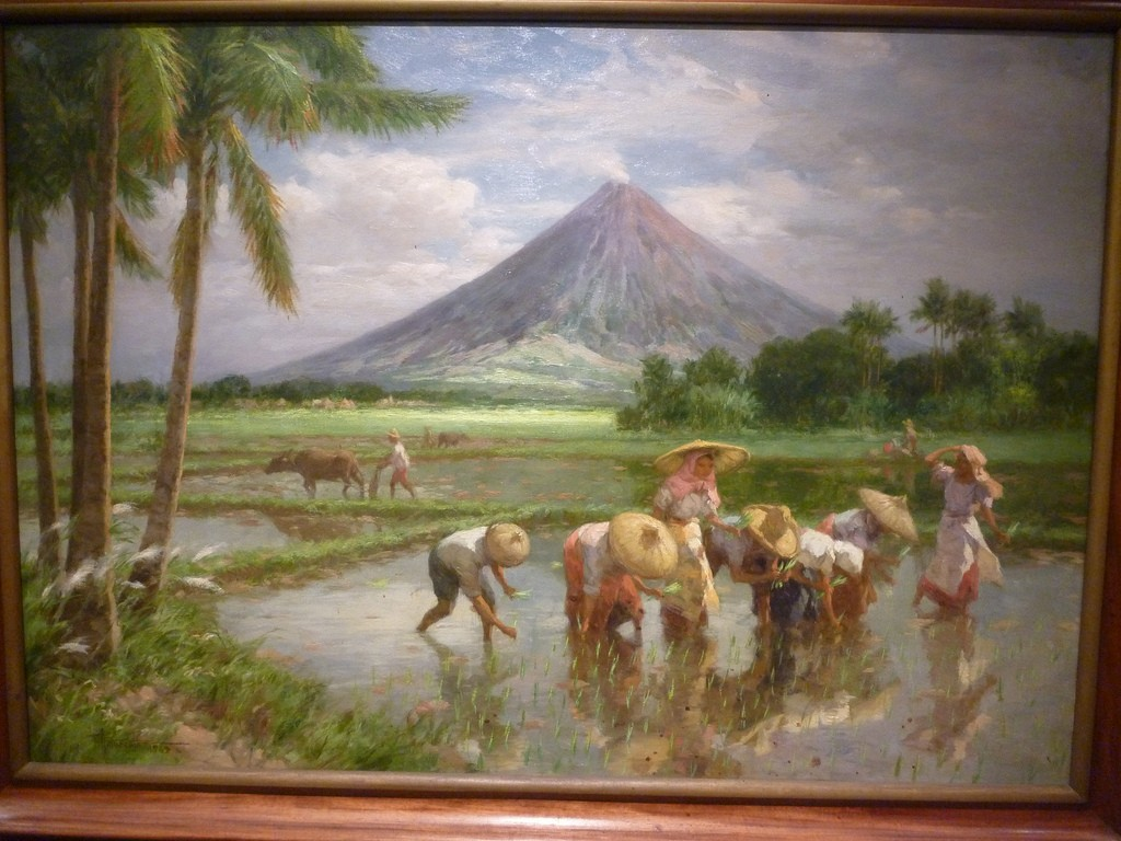 The mountains in Fernando Amorsolo's paintings