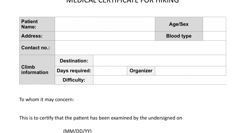 Climb health: Sample medical certificate for hiking - Pinoy Mountaineer